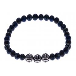 Bracelet acier pour homme - élastique - jaspe impériale teintée bleue - composants acier - 21cm