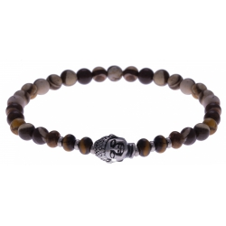 Bracelet acier pour homme - élastique - œil de tigre - jaspe polychrome - boudha - 21cm