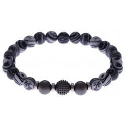 Bracelet acier pour homme - élastique - imitation malachite noire et blanche (plastique) - 21cm