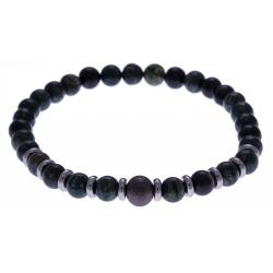 Bracelet acier pour homme - élastique - jaspe kambaba - composants acier - 21cm
