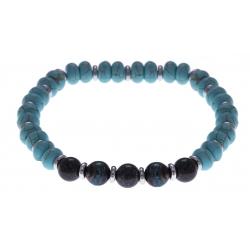 Bracelet acier pour homme - élastique - howlite teintée imitation turquoise - chrysocolle - composants en acier - 21cm