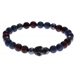 Bracelet acier pour homme - élastique - œil de taureau - corail reconstituté et teinté bleu - hématite - tête de mort noire-21cm