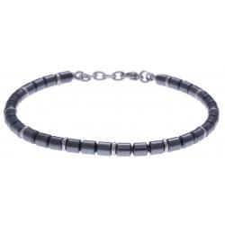 Bracelet acier - hématite noir enrobée et acier - 19+4cm
