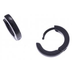 Créoles acier noir  - diamètre 1cm
