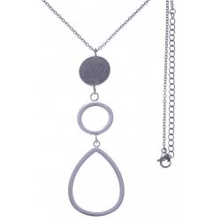 Collier en acier - 2 ronds + goutte - hauteur pendentif 7cm - longueur chaîne 45+7cm