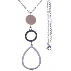 Collier en acier 3 tons - acier, rosé et noir - 2 ronds + goutte - hauteur pendentif 7cm - longueur chaîne 45+7cm