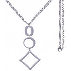 Collier en acier - 2 ronds + goutte - hauteur pendentif 6cm - longueur double chaîne 45+7cm