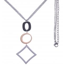 Collier en acier 3 tons - acier, rosé et noir - 2 ronds + goutte - hauteur pendentif 6cm - longueur double chaîne 45+7cm