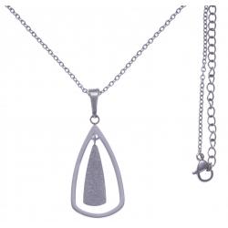Collier en acier - hauteur pendentif 3cm - longueur chaîne 45+7cm