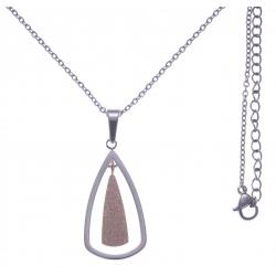 Collier en acier 2 tons - rosé et couleur acier - hauteur pendentif 3cm - longueur chaîne 45+7cm