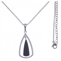 Collier en acier 2 tons - noir et couleur acier - hauteur pendentif 3cm - longueur chaîne 45+7cm
