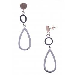 Boucles d'oreille en acier 3 tons - acier, rosé et noir - hauteur 6cm