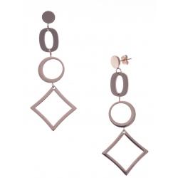 Boucles d'oreille en acier rosé - hauteur 7cm