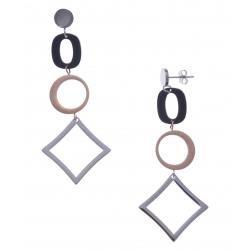 Boucles d'oreille en acier 3 tons - acier, rosé et noir - hauteur 7cm