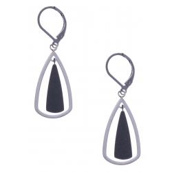 Boucles d'oreille en acier 2 tons - noir et couleur acier - hauteur 2,5cm