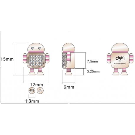 CHIKIBOT - Chikibella Mini - Collier argent rhodié rosé - émail - oxydes de zirconium - maille vénitiennes - 40cm
