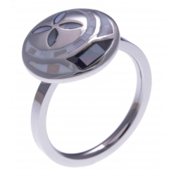 Bague en acier - nacre - émail - petit volume (dimensions bo) - T50 à T62