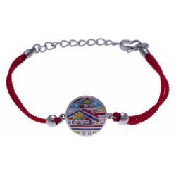 Bracelet acier - maison colorée - nacre - émail - coton rouge - 16+4cm