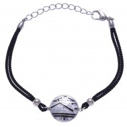 Bracelet acier - maison noir&blanc - nacre - émail - coton noir - 16+4cm