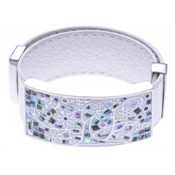 Bracelet acier - arbre de vie - émail - nacre - cuir blanc - largeur 2cm - longueur 23,5cm