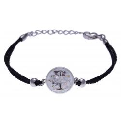 Bracelet acier - arbre de vie - nacre - émail - coton noir - 16+4cm