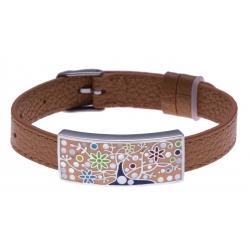 Bracelet acier - arbre de vie - émail - nacre - cuir marron - largeur 1cm - bracelet montre réglable