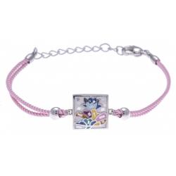Bracelet acier - nacre - émail - coton rose - 16+4cm