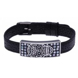 Bracelet acier - tête de mort - émail - nacre - cuir noir - largeur 1cm - bracelet montre réglable