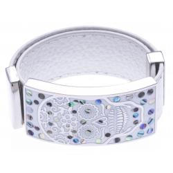 Bracelet acier - tête de mort - émail - nacre - cuir blanc - largeur 2cm - longueur 23,5cm