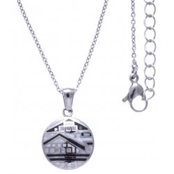 Collier en acier - maison noir&blanc - nacre - émail - petit volume - longueur 38+5cm