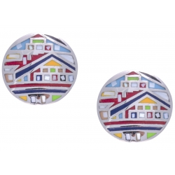 Boucles d'oreille acier - maison colorée - nacre - émail