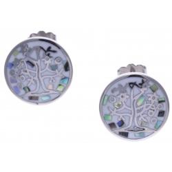 Boucles d'oreille acier - arbre de vie - nacre - émail