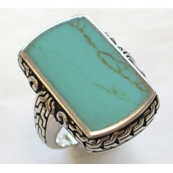 Bague argent 9g turquoise reconstitu
