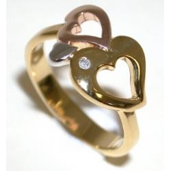 Bague plaquée or 3 microns diamant véritable t 50 à 60 3 tons