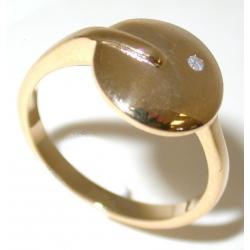 Bague plaquée or 3 microns diamant véritable t 50 à 60