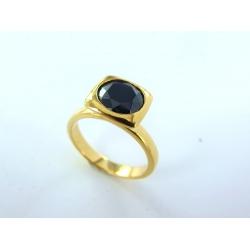 Bague plaquée or zircons noirs t50 à 60