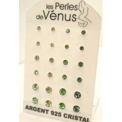 Présentoir 12 paires bo argent 6g cristal tons vert