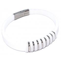 Bracelet acier et silicone blanc
