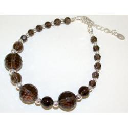 Bracelet argent 2g 17+2cm quartz fumé boules facettées