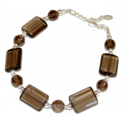 Bracelet argent 2g 17+2cm quartz fumé perles facettées