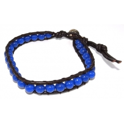 Bracelet argent  0,5g cuir pierre véritable teintée bleue