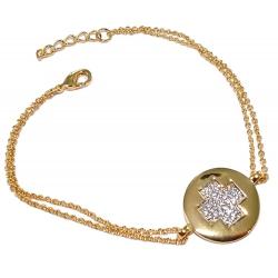 Bracelet plaqué or 2 tons zircons 17+2cm