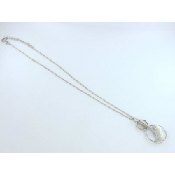 Collier argent rhodie 8g 38+5cm nacre blanche et zircons blancs