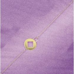 collier plaqué or 42cm carré dans cercle