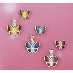 présentoir 3 sets bo argent+ pendentif 7,5g papillons émaill