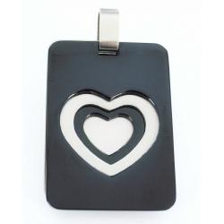 Pendentif acier plaque coeur mat et noir