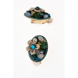 Boucles d'oreille fantaisie bleu résine, strass et dentelle