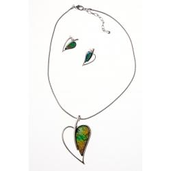 """Parure fantaisie collier """"cœur"""" 42+5 cm résine + boucles d'oreille assorties"""