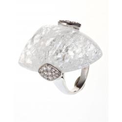 Bague argent rhodié 3,9g quartz cristal et zircons T 50 à 60