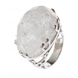 Bague argent rhodié 10,4g quartz cristal T 50 à 60